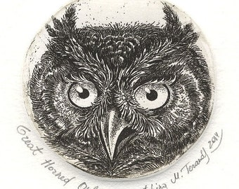 Great Horned Owl. Etching. Hand-pulled original print.