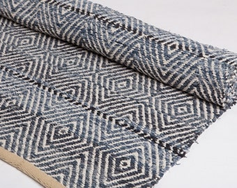 Exceptional Denim Blue Rug, Made Of Recycled Jeans, Woven Rug, Cotton Rug, Handmade
