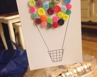 Handcrafted button hot air balloon card