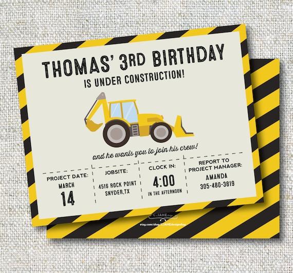 Construction Birthday Invitation: Trucks, Boy Birthday