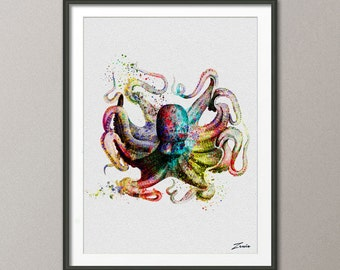 octopus art print octopus print watercolor octopus poster wall art decor wall poster octopus decor watercolor painting A145