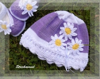 """Cap """"daisy purple"""", knitted baby hats, various sizes; Cap """"Purple Daisy"""", knitted baby hats, various sizes"""