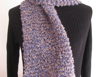 Soft hand knit scarf blue and gray