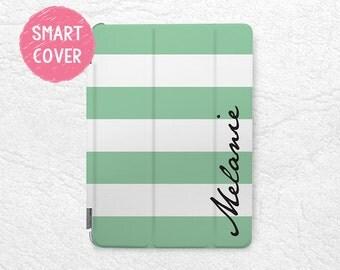 Mint Striped New iPad 2017 Smart Cover, Personalized custon name case for iPad Mini, iPad mini 2 retina, iPad Air, iPad Air 2, iPad Pro 12.9