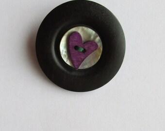 Purple Heart Button Brooch