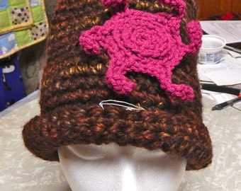 Brown Crochet Hat with Pink Flower