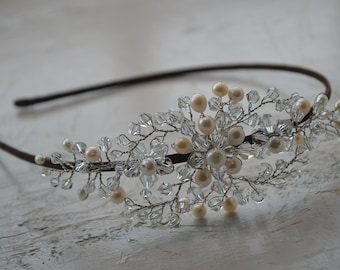 Stunning bridal headpiece with twinkling crystals and fresh water pearls, bridal headband, bridal headpiece, side tiara, bridal tiara