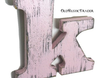 Nursery letter k wood letter 8 inch letter wall decor alphabet letters wedding guest book home decor cottage decor painted Blossom Pink