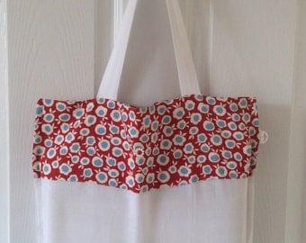 Medium cotton SHOPPER MARKET bag / fold up tote  -white with red & blue RETRO spots.  Trim fabric designed by Celia Birtwell.