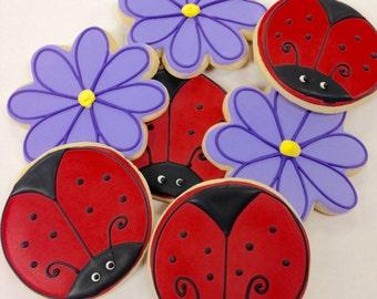 Ladybug and Flowers One Dozen Springtime Summer Sugar Cookies