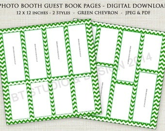 "Photo Booth Guest Book Page - 12"" x 12"" Green Chevron - Digital Download"