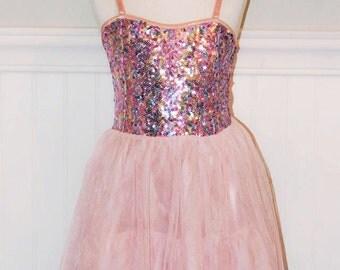 Karenina Pink Sequin Dress Tutu Dress Party Dress Girls Dress