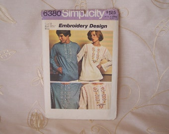1974 Vintage Simplicity 6380 Womans Tunic Top Pattern