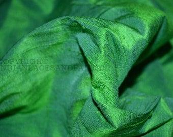 Pure Dupioni Silk - raw silk fabric by yard - Iridescent Spring Green and Blue dupioni silk fabric by Yard