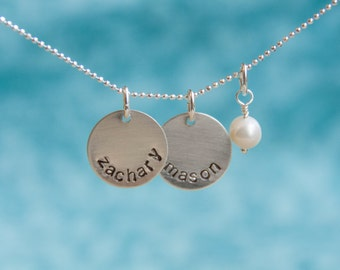 Custom Hand-Stamped Sterling Silver Mother's Charm Necklace with Names