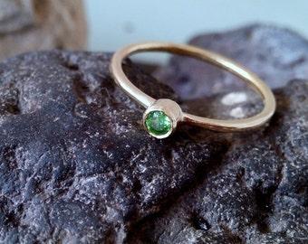 SALE! Bezel Emerald Ring, Thin Stackable Ring, Gemstone Ring,Stacking Ring,Green Ring, Bridal Ring,Gold Ring