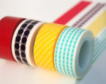 Polka Dot,Stripes,and Solid Red Washi Tape Set of 4 Rolls