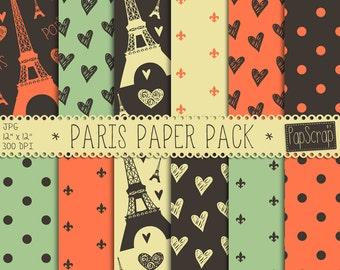 """Paris digital paper : """"Paris Paper Pack"""", parisian digital paper in orange, green, cream, digital scrapbook paper, Paris scrapbook"""