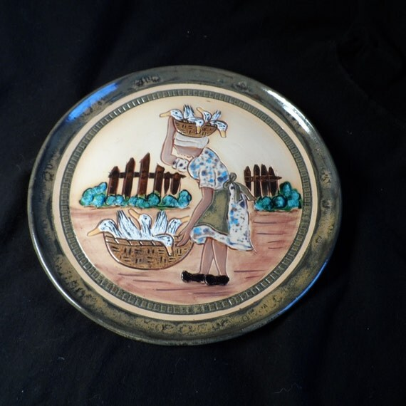 Plate-Pottery-Decorative Plate made in Guyana-Hand Made Red Clay Plate-African Woman With Ducks-Signed TG
