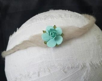 Blue Rosette Tieback Headband