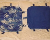 """Blue and White Camouflage Helicopter Taggie Take-Along 18x20"""""""
