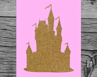 Disney Princess Castle Nursery Print Glitter Gold Castle Print Princess Castle Printable Pink