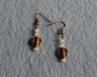 Handmade metal spiral and genuine rose quartz pierced earrings