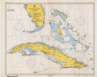 Straights of Florida & Cuba Historical Map 1948