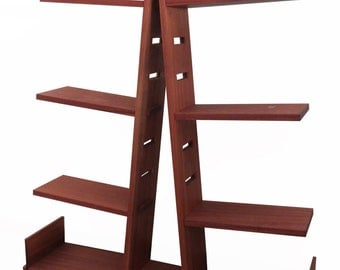 Bookcase solid wood tree with height adjustable shelves