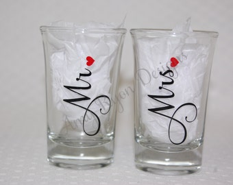 Mr. and Mrs. Shot Glasses, Personalized Mr. and Mrs. Shot Glasses, Perfect Wedding Gift, Bridal Shower Gift, Married Couple Shot Glasses