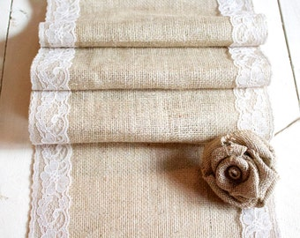Burlap Table Runner with Natural Lace, Rustic Table Runner, Country Wedding, Burlap and Lace Runner, Wedding Table Runner, Rustic Wedding