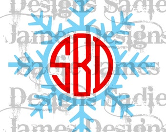 Snowflake Monogram Frame SVG and Silhouette Studio cutting file, Instant Download