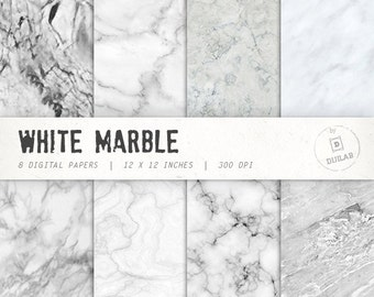 Marble digital paper in white color with various marble pattern, marble backgrounds and  marble texture