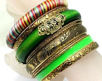 Green Boho Bangle Set