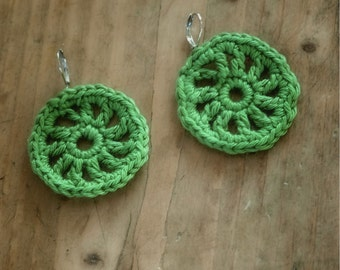 RTS green crocheted earrings / spring