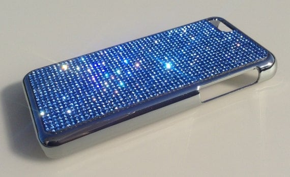 iPhone 5C Blue Sapphire Rhinestone Crystals on Silver Chrome Case. Velvet/Silk Pouch Bag Included, Genuine Rangsee Crystal Cases.