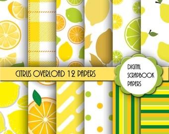 Citrus Lemon Digital Paper, Digital Scrapbook Paper, Digital Paper, Commercial Use, Scrapbook Paper, Scrapbook Background