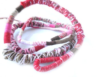 Neapolitan Fiber Wraps / Textile Necklace / Weareable Art / Multistrand Bracelet  / Pink and Brown Bohemian Necklace / Urban wraps / textile