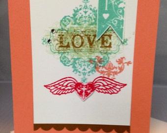 Stampin Up Handmade Greeting Card, Wedding/Love Card
