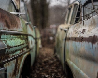 Rusty Classic Cars Junk Yard Photo Print *Wisconsin*