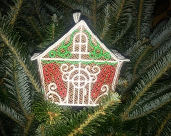 Embroidered Lace Gingerbread House Ornament or Decoration