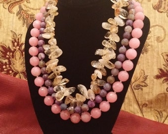 Beautiful 3 Strand Assorted Semi Precious Pink and Purple Faceted Stone and Citrine Necklace