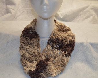Multi Brown Crochet Cowl