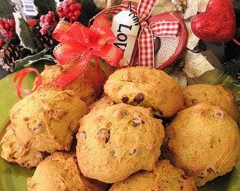 Homemade soft pumpkin chocolate walnut Cookies--Chocolate Chip Cookies with walnut---- one dozen homemade cookies---Christmas gift
