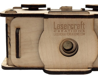 35mm pinhole camera, laser cut out of plywood