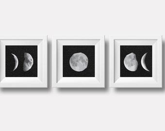 Printable Geometric Moon Poster, instant digital download, set of 3