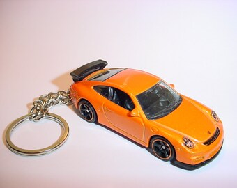 3D Porsche 911 GT3 RS custom keychain by Brian Thornton keyring key chain finished in orange color trim diecast metal body
