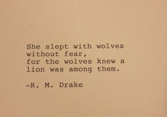 Quotes About Love 1920s : ... Drake - Hand Typed Typewriter Quote - She slept with wolves