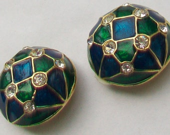 Domed Blue & Green Enamel and Crystal Pastes Clip On Earrings