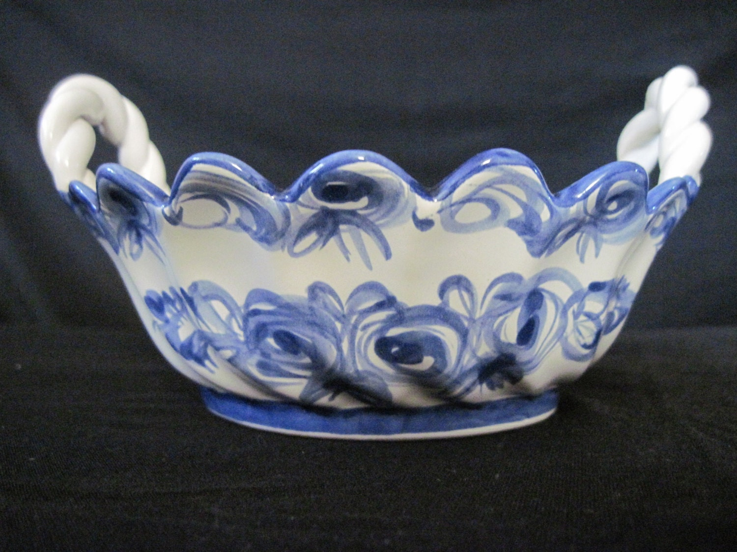 Blue And White Ceramic Bowl Portugal Pottery Bowl 40 S
